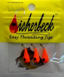 Fisherbeck #8 Bright Orange with Black Eye 3 Pack